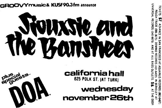 California Hall Gig Flyer - Click Here For Bigger Scan
