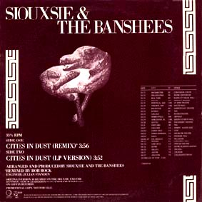 "Cities In Dust 12"" Single US Import Promo Front Cover - Click Here For Full Scan"