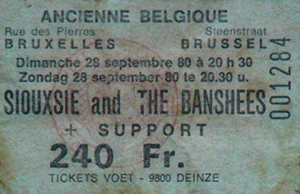 Ticket Ancienne Belgique, Brussels 28/09/80 - Courtesy Of Philippe - Click Here For Bigger Scan